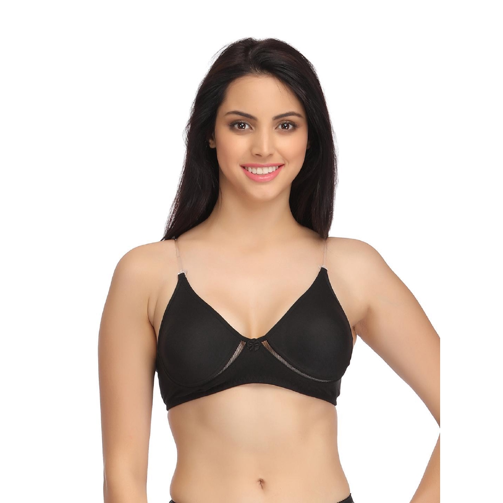 Women/'S Cotton Bra Non-Padded Non-Wired Full Coverage With Transparent Straps