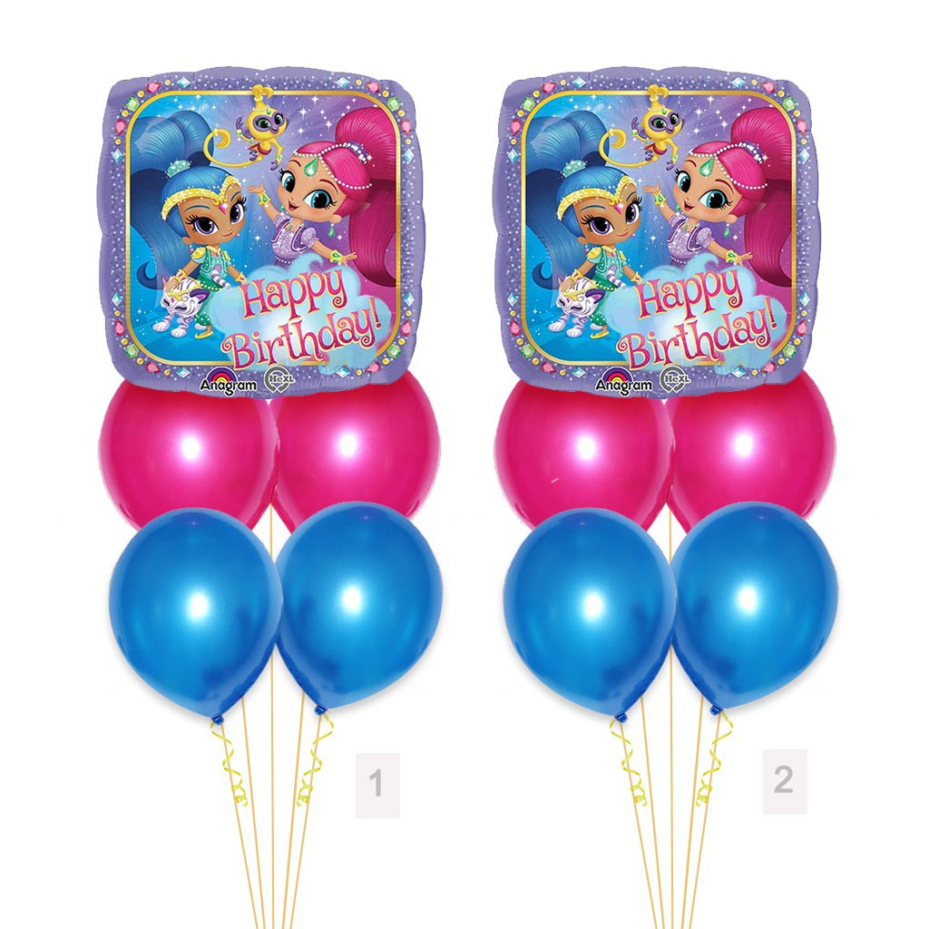 "SHIMMER AND SHINE BALLOON 17/"" NO MESSAGE SHIMMER /& SHINE ANAGRAM BALLOON"