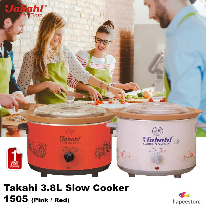 Takahi 3.5L Slow Cooker - 2404 (Available in Pink / Red) (1 Year Warranty)   Shopee Singapore