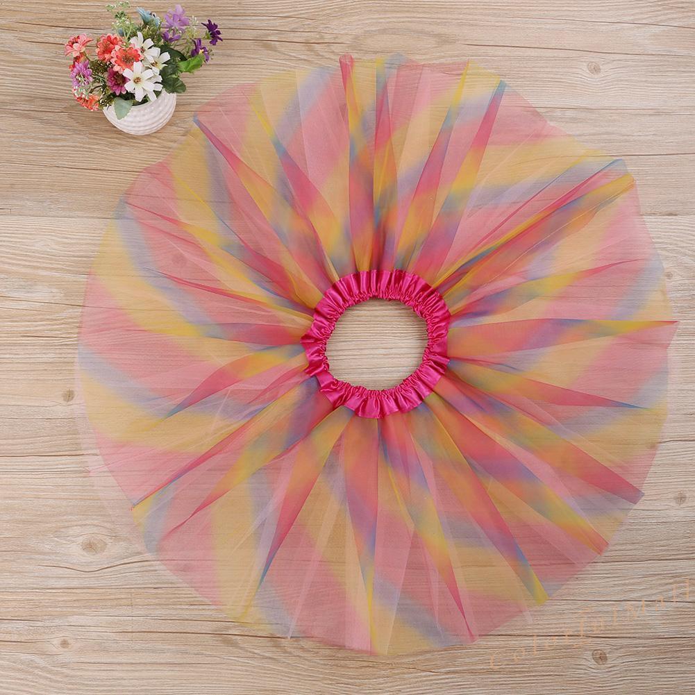 Kids Baby Colorful Tutu Skirt Girls Rainbow Tulle Tutu Mini Dress Dancewear New