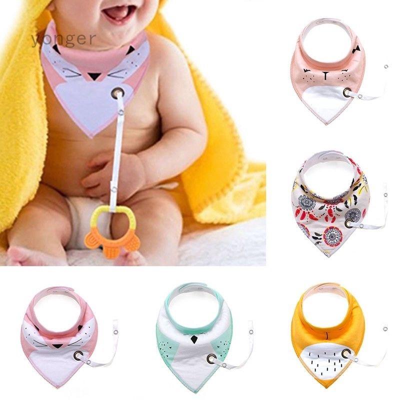 Infant Toddler Triangular Cotton Bibs Saliva Towel /& Pacifier Clip Feeding