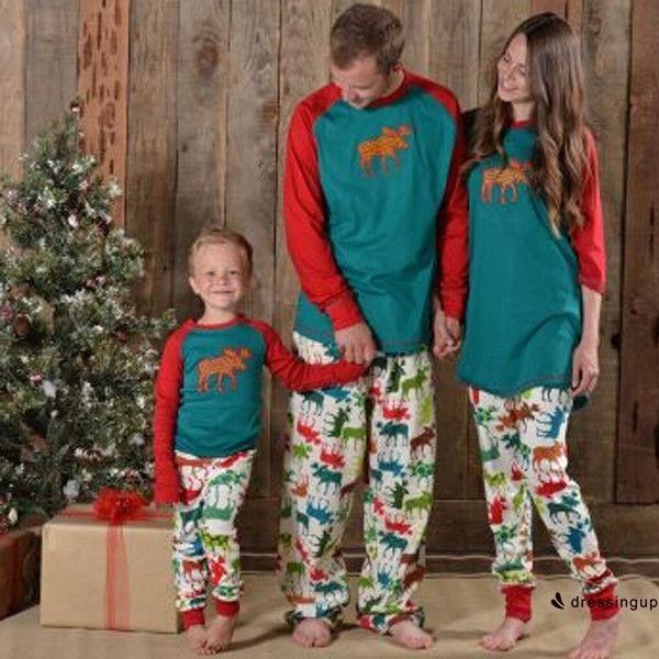 2a62cc1d29 DSS-Moose Fairy Christmas Family Pajamas Set Adult Women Kids Sleepwear