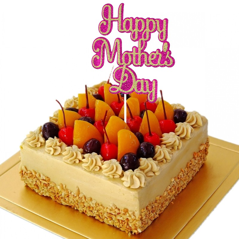 Enjoyable I Love Mom Design Cake Topper For Mothers Day Birthday Cake Personalised Birthday Cards Veneteletsinfo