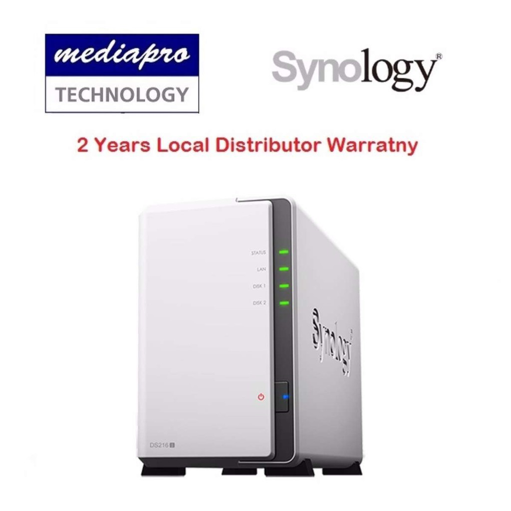 Synology DiskStation DS218j 2-Bay NAS ( without HDD ) - 2 Year Local  Distributor Warranty
