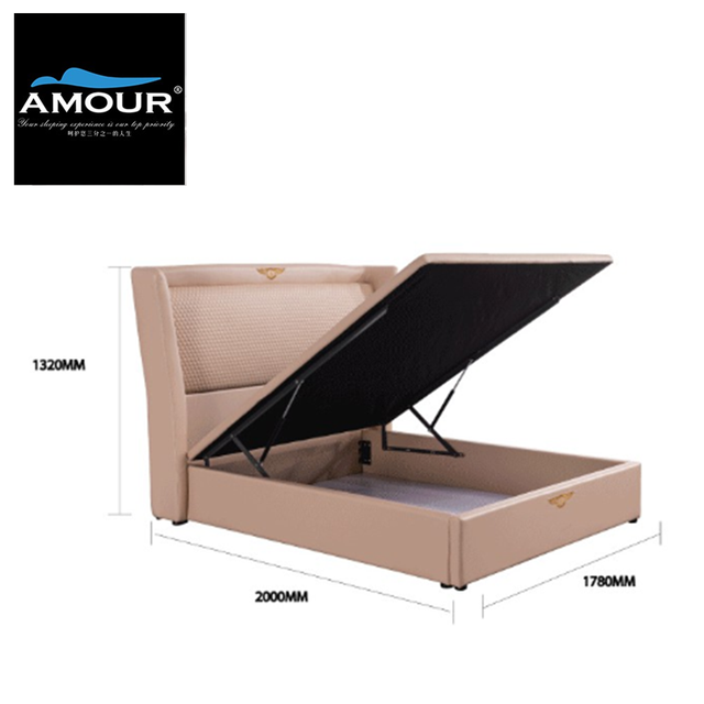 Amour Modern Victorian Pu Leather, King Storage Bed Frame Singapore