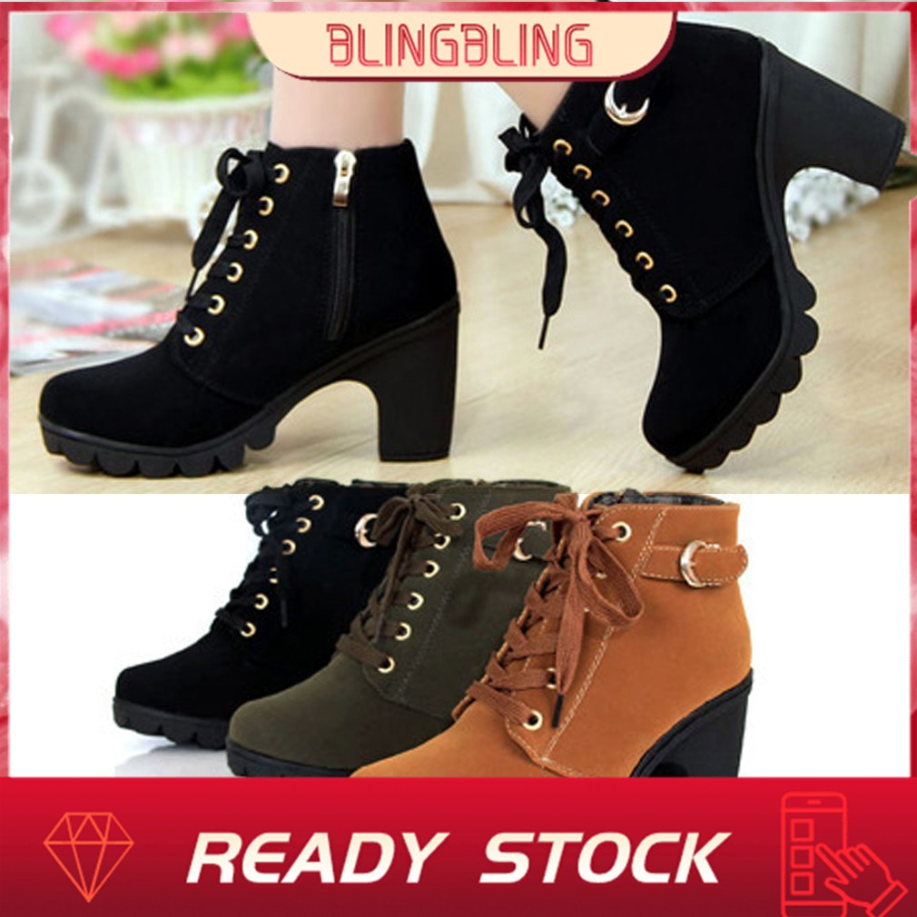 9897eee2718 💕💕Girl Women High Top Heel Lace Up Buckle Ankle Boots Winter Pumps Suede  Shoes