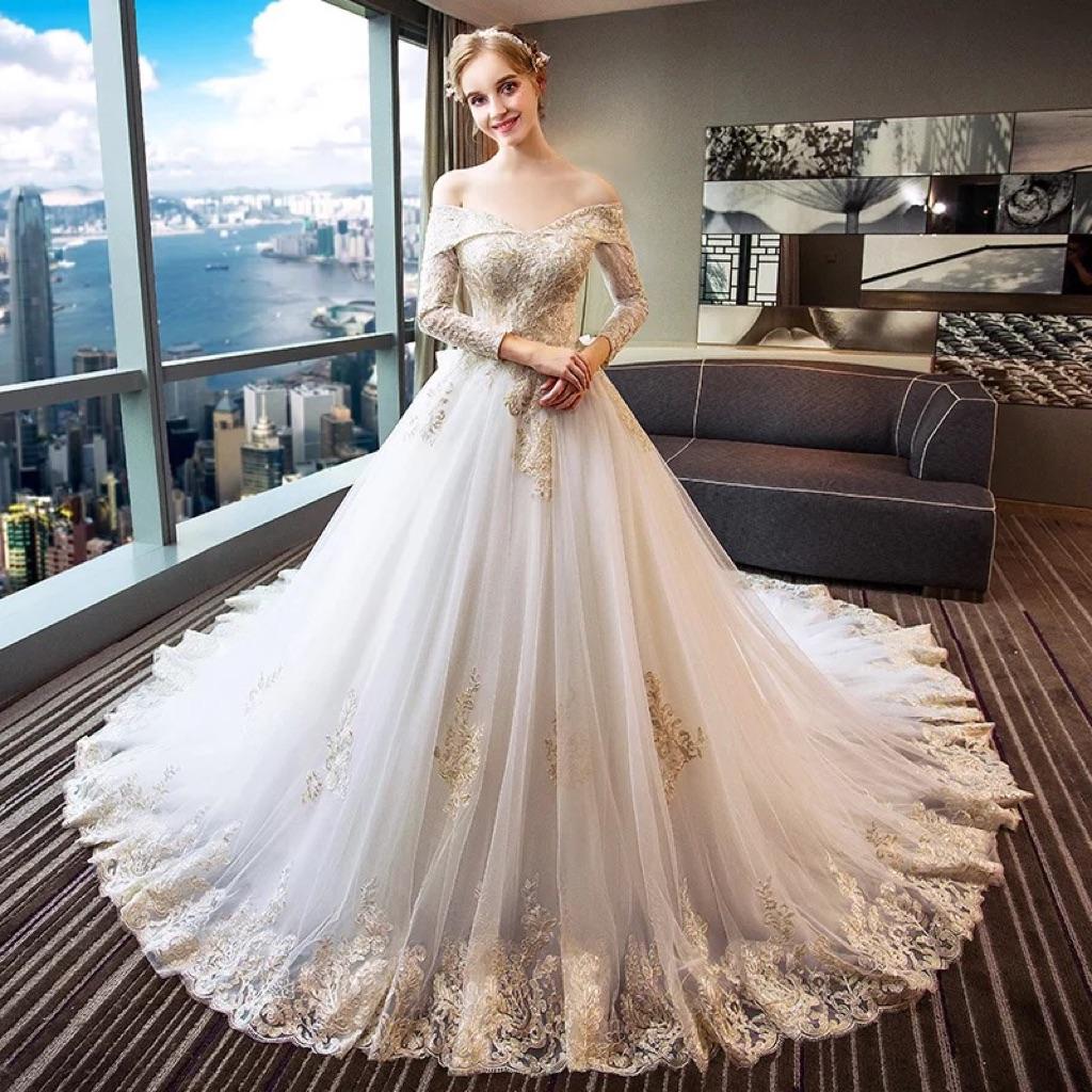 married bridal gowns off shoulder luxury long train wedding dress ball gown