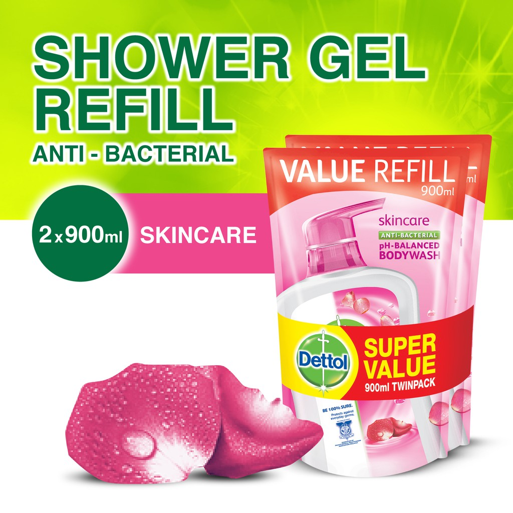 Dettol Anti Bacterial Hand Wash Skincare Refill Pouch Twin Pack Sensitive 200 Ml 2 Pcs 225ml X Shopee Singapore