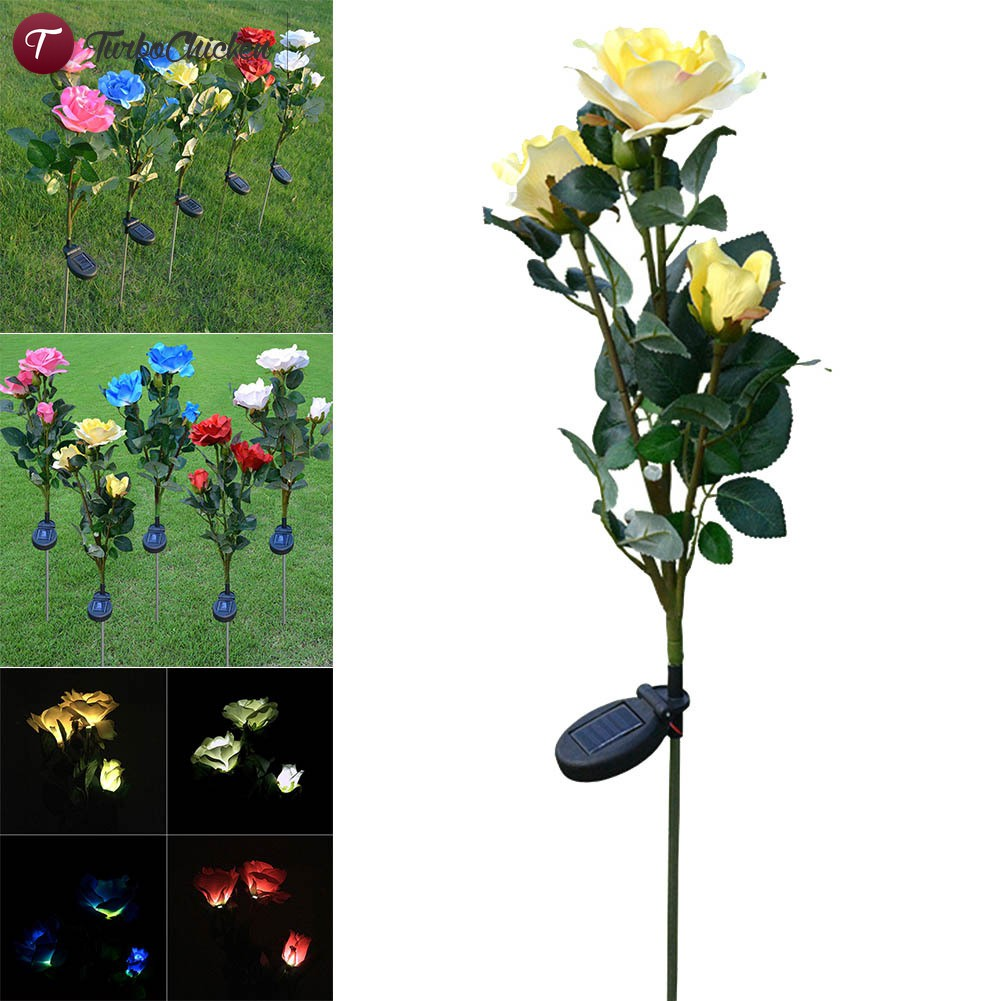 Solarbetriebene Rose Blume Licht LED Stake Lampe Outdoor Garten Pathway Decor