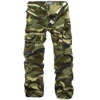 vente chaude en ligne a78de d517e Camouflage Pants Men Multi Pocket Cotton Cargo Camo Pants Pantalon Homme  Mens