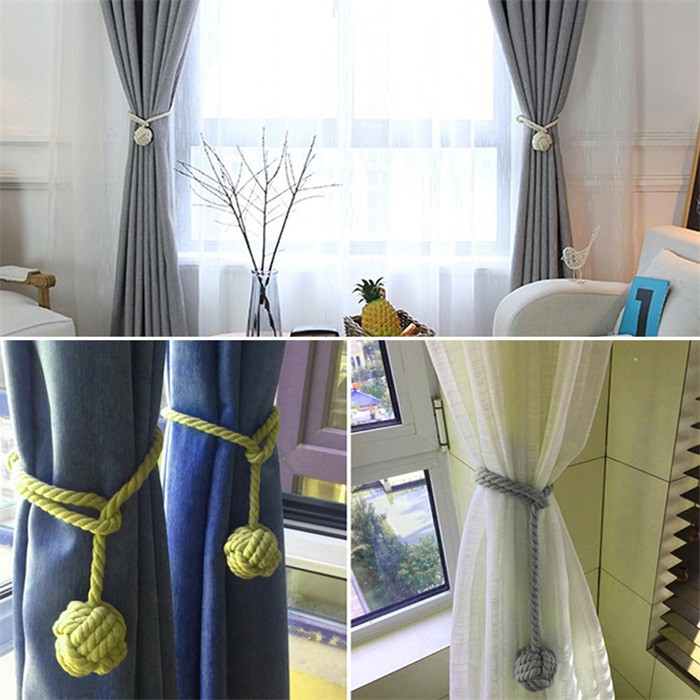 2Pcs Pair of Rope Ball Curtain Tie backs Holdbacks Curtains /& Voiles Multicolor
