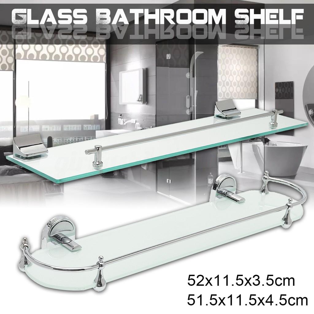 Bathroom Shower Glass Shelf Corner Rectangle Rack Towel Rail Organizer   @ ♚