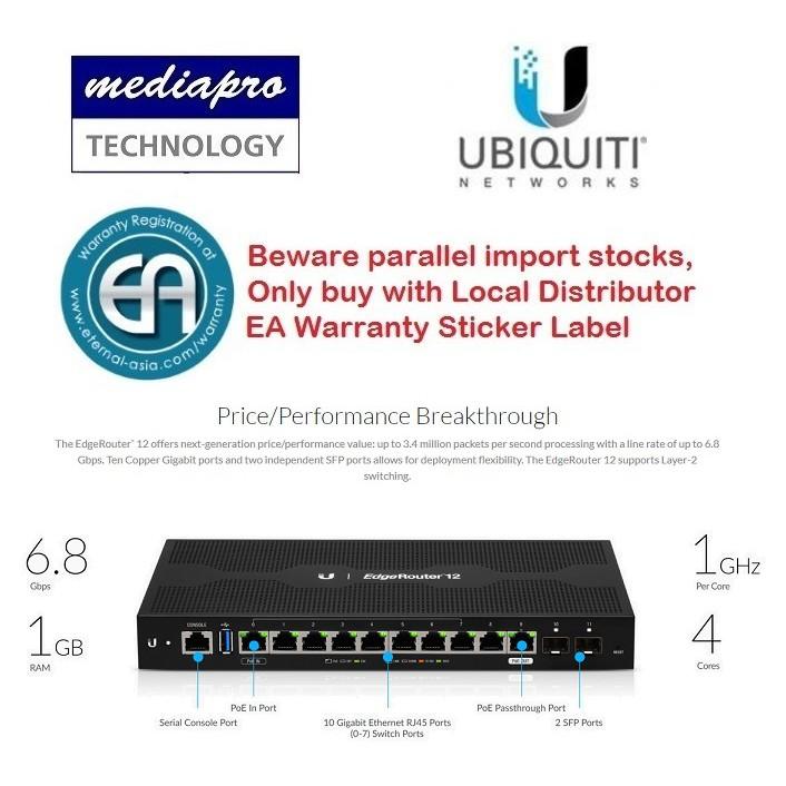 UbiQuiti ER-12 EdgeRouter™ 12 10-Port Gigabit Router with PoE Passthrough &  2SFP