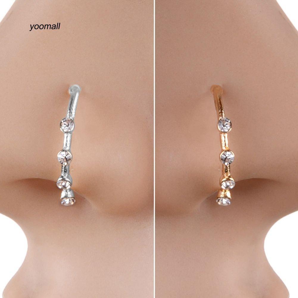 Yoml Sparkly Rhinestones U Shape Nose Stud Hoop Nose Ring Chic