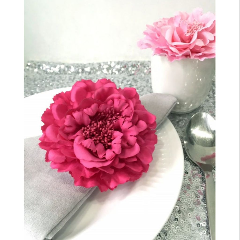 Color Choice Large Artificial Peony Flowers Napkin Rings Floral Napkin Holders Party Decoration Shopee Singapore