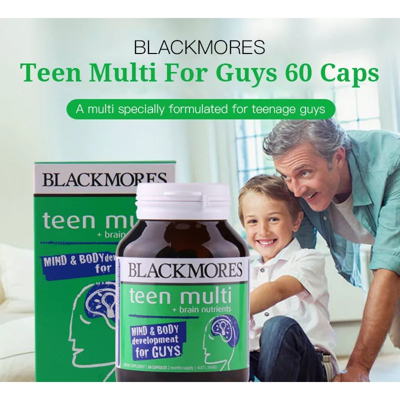 BLACKMORES Teen Multi for Guys Teenagers 12- 18 Years OId Brain Development Bone Growth With 20 Essential Nutrients 60 capsules