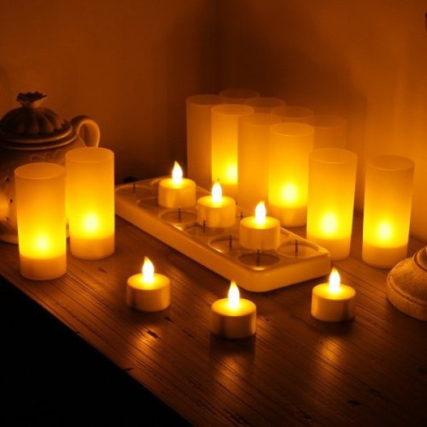 12pcs Rechargeable Tea Light Tealight Candles With Holders White Base Shopee Singapore