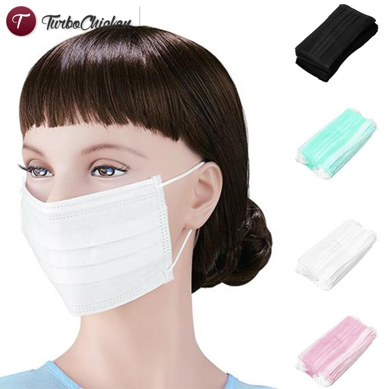 Anti-dust Salon For Earloop Layers Surgical Mouth Face Medical Masks 50pcs 3 T⋄ Disposable