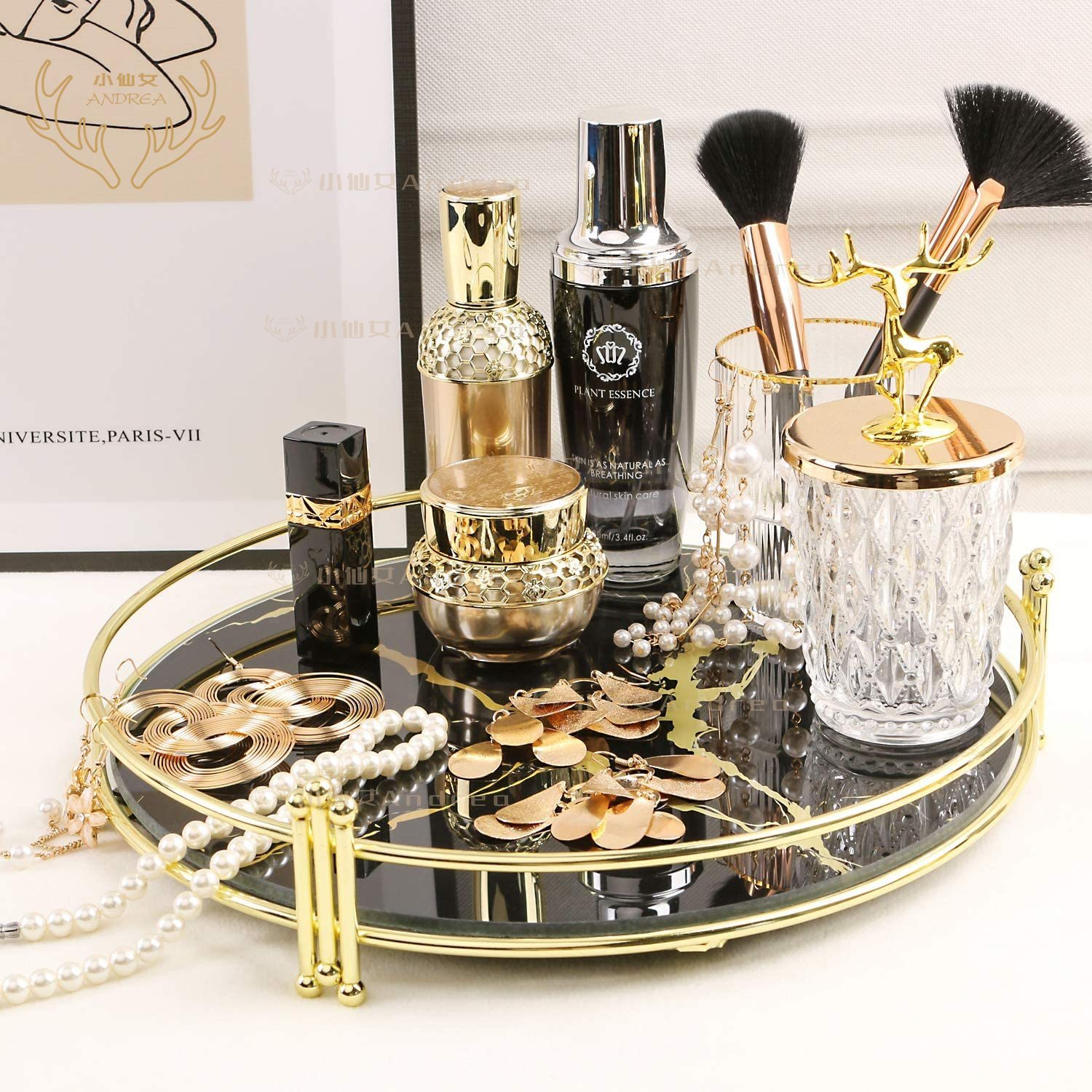 Makeup Organizer Tray Decorative Glass Vanity Tray Round Cosmetic Storage For Jewelry Makeup Perfume Decor And More Size 11 5 Black Marbling Shopee Singapore