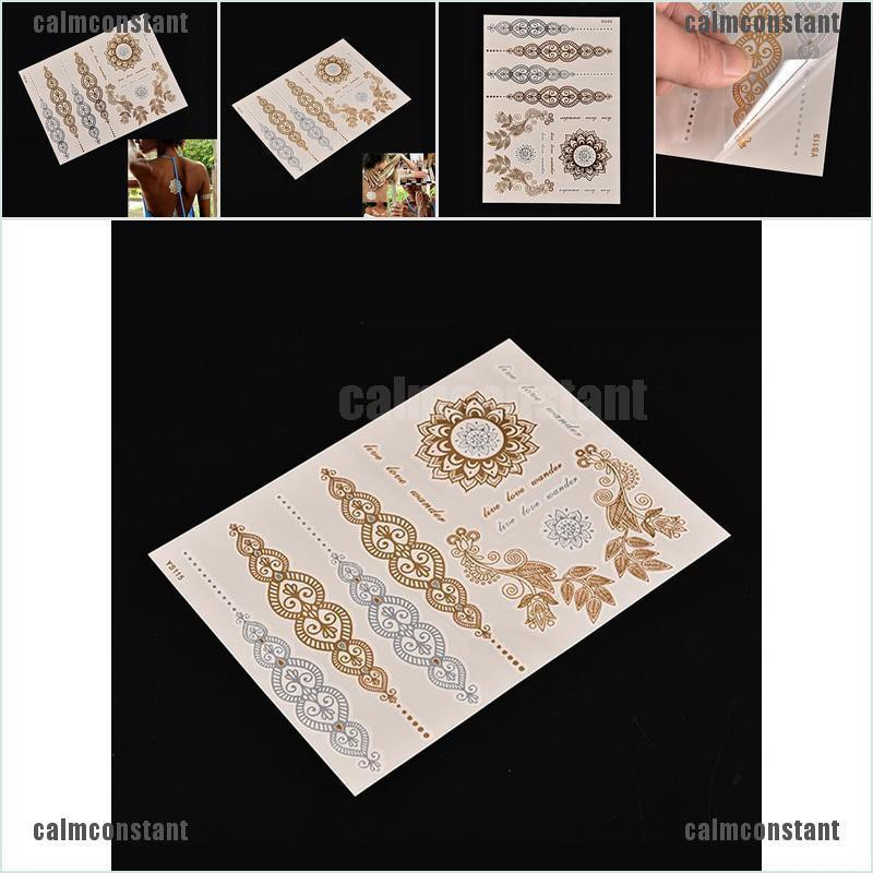Calmconstant Gold Silver Metallic Flash Temporary Tattoos Stickers Temporary Body Art Tattoo Shopee Singapore