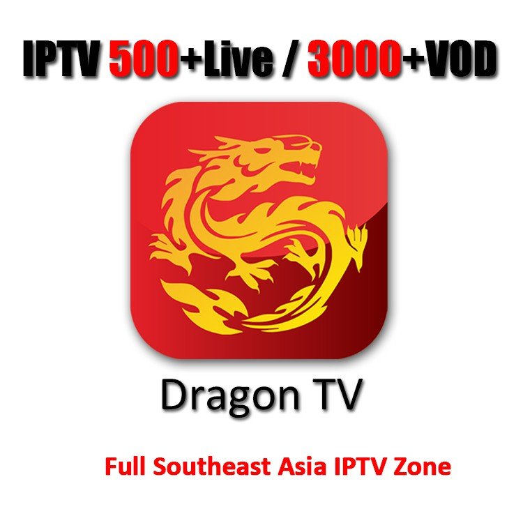 7-Day IPTV Subscription Dragon TV Channel 500+Live TV Channel 3000+VOD