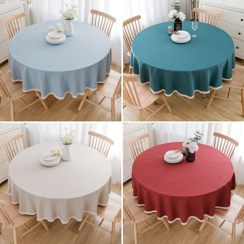 Moonstars Pure Color Round Table Cloth, Round Table Cover
