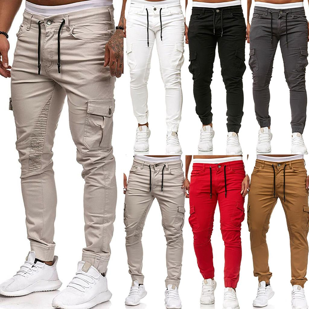 sophisticated technologies usa cheap sale hot products Men Skinny Pants Drape Jogger Slim Fit Combat Cargo Casual ...