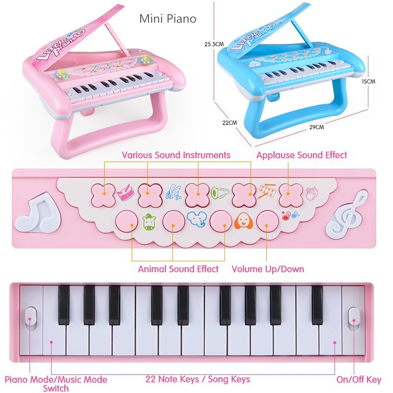 Children's Electronic Piano Microphone Music Play Learning