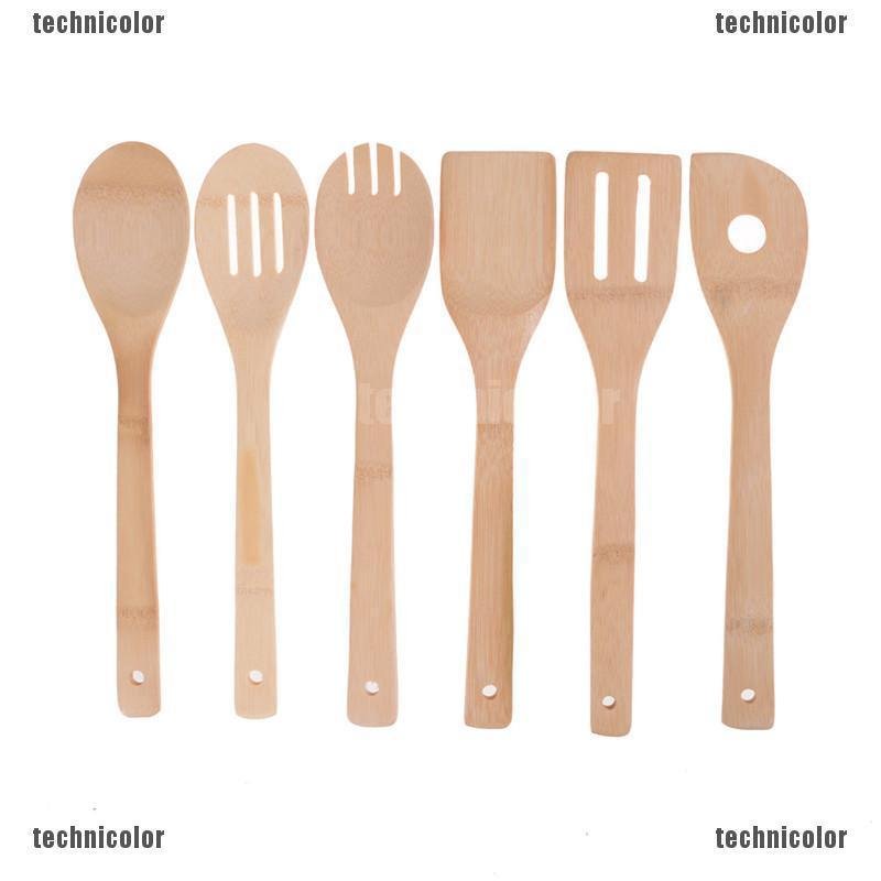 Tcmy Bamboo Wood Kitchen Tools Spoons Spatula Wooden Cooking Mixing Utensils