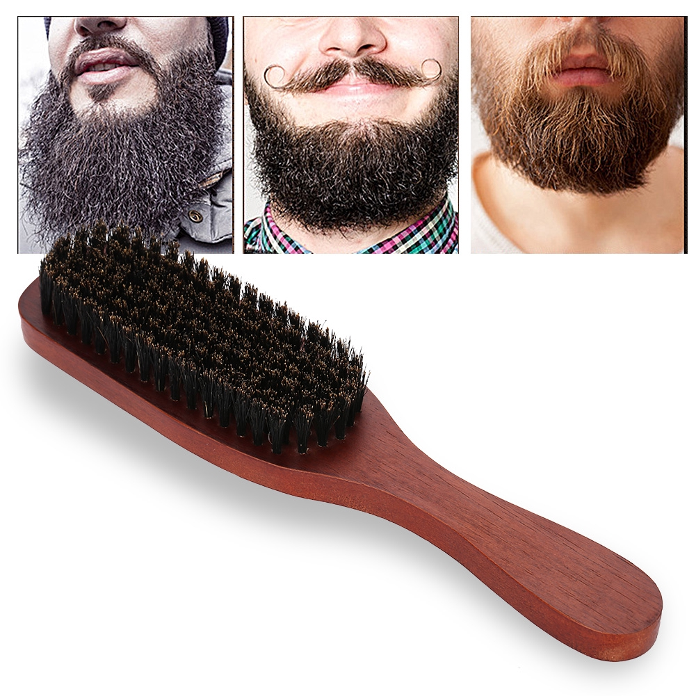 Mens Wood Beard Brush Mustache Facial Beard Cleaning Comb Double-sided Hair Mustache Cleaner Brush Face Massage Shaving Brush Modern Techniques Shaving & Hair Removal Shaving Brush