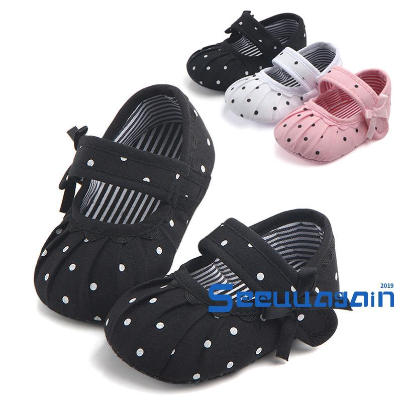 Newborn Toddler Baby Girls Soft Crib Shoes Non-slip Tassel Bow Sneakers 0-18M UK