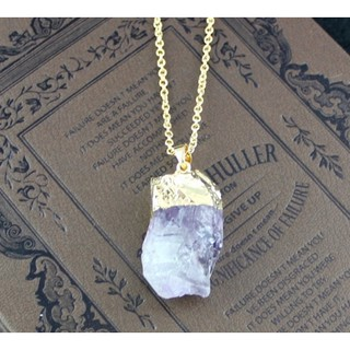 gold plating amethyst pendant necklace
