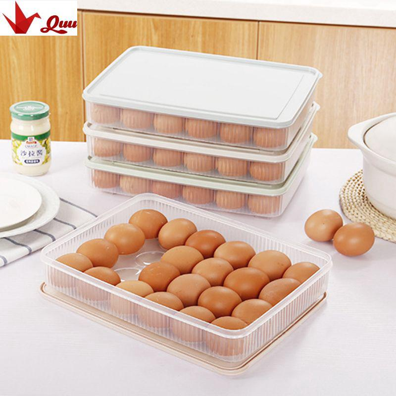 Can Be Stacked Refrigerator Plastic 24 Grids Egg Box Storage Container QX