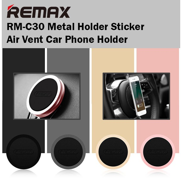 Remax RM-C30 Metal Holder Sticker Car Phone Holder Air Vent Mount iPhone Android | Shopee Singapore