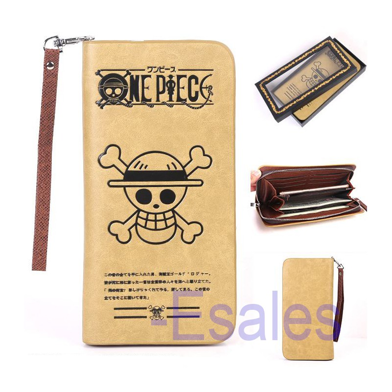 One Piece Anime Skull Logo Faux Leather Wallet in Brown Mens Fan Gift zip coin