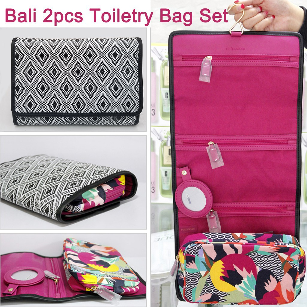 3128c964aff2 Estee Lauder Toiletry Bag Travel Set Bali Black And White Rhombic Cosmetic  Bags