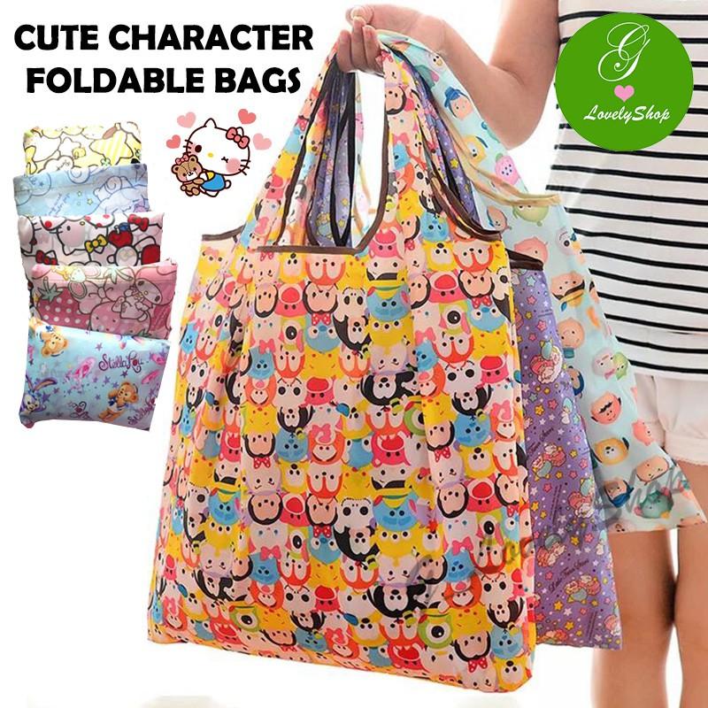 SG SELLER) Cute Characters Cartoon Waterproof Foldable Tote Bags ... 67b5eeaca91e0