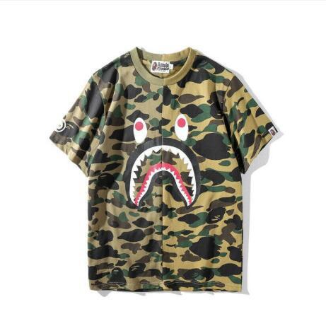 Men BAPE Camo Short Sleeve A Bathing Ape Shark Head Round Collar T-shirt  New