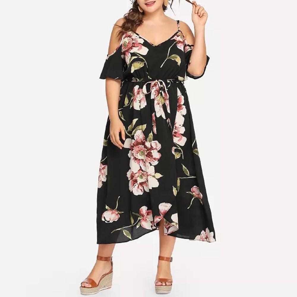 Plus Size Women Casual Short Sleeve Cold Shoulder Boho Flower Print Long Dress