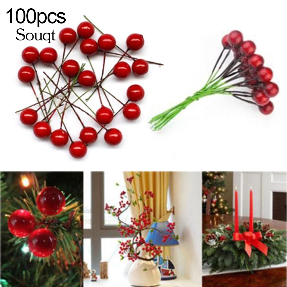 100pcs Artificial Holly Berry Christmas Fruit Home Foam Decor Mini Red Ornaments