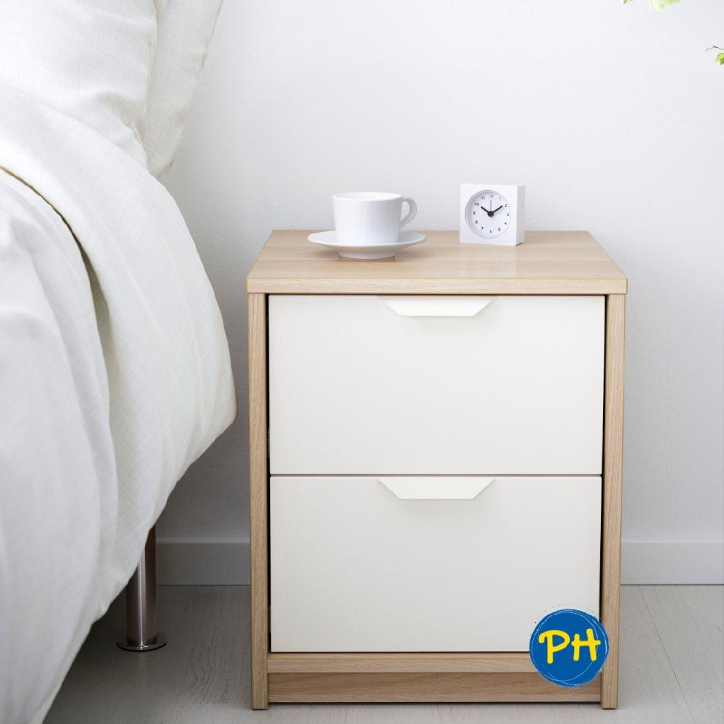 Ikea Askvoll 403 555 36 Bedside Table Drawer White Stained Oak Shopee Singapore