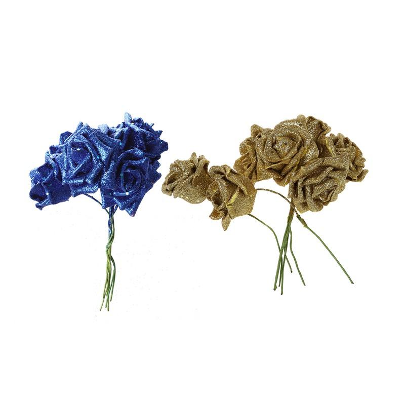 2 Sets 7 Foam Rose Artificial Flower Glitter Bridal Bouquet Home Wedding Decoration Blue Gold Shopee Singapore