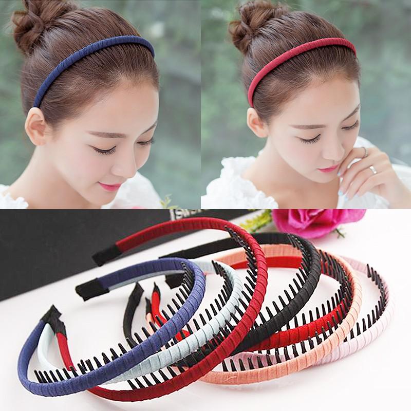 Womens Multicolor Headband With Teeth Cloth Wrap Hair Hoop Comb Solid Hairband
