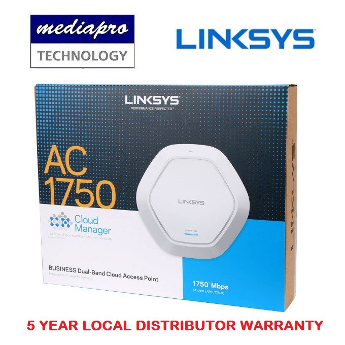 LINKSYS LAPAC1750C AC1750 Dual-Band Cloud Management Wireless Access Point,  Support PoE - 5 Year Local Linksys Warranty