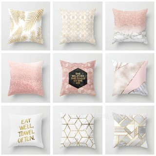 ESO-Gold Shining Printed Polyester Throw Pillow Case Sofa Cushion Cover Home
