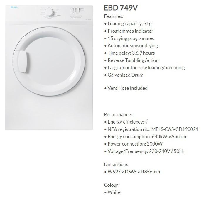 ELBA 7KG FRONT LOAD VENTED DRYER [EBD 749V/EBD 746F] - MULTI MODELS |  Shopee Singapore