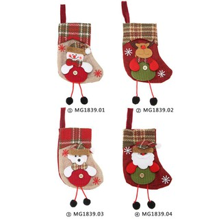 Cute Christmas Socks Candy Bags Plaid Stockings Tree Hanging Ornament Gift Bags