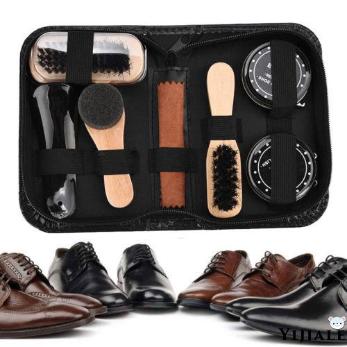 best quality classic style 50% price YJ☆-New 7 In 1 Shoe Shine Care Kit Black & Transparent Polish ...