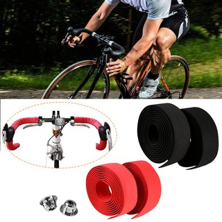 2x Road Race Bike Bicycle Cycling Handlebar Tape Ribbon Rubber Foam Wrap 2 Plugs