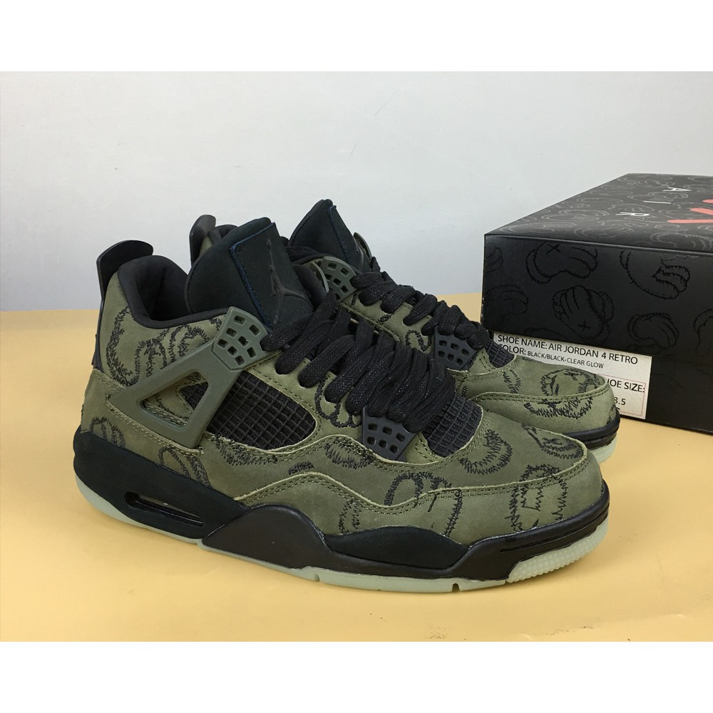 new concept 57242 3e36a KAWS x NIKE air Jordan 4 Black/Green Camo